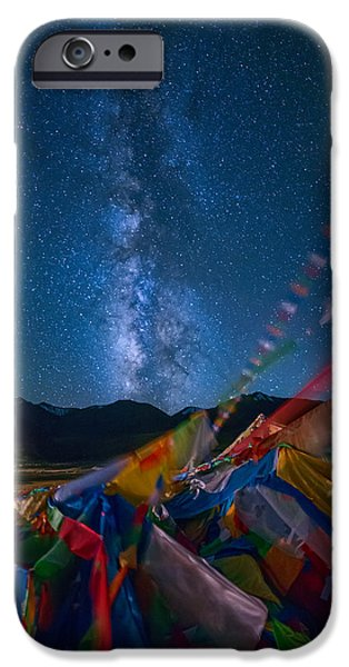 Tibetan Buddhism iPhone Cases - High Altitude Milky Way iPhone Case by James Wheeler
