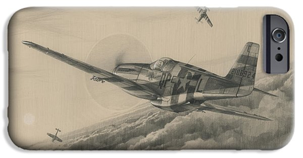 P-51 Mustang iPhone Cases - High-Angle Snapshot iPhone Case by Wade Meyers