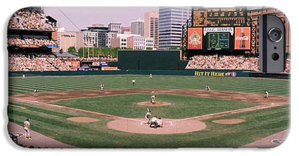 Camden Yards Stadium iPhone Cases - High Angle View Of A Baseball Field iPhone Case by Panoramic Images