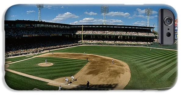 Baseball Stadiums iPhone Cases - High Angle View Of A Baseball Match iPhone Case by Panoramic Images
