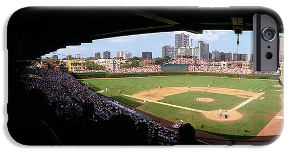 Wrigley iPhone Cases - High Angle View Of A Baseball Stadium iPhone Case by Panoramic Images