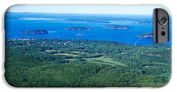 Maine iPhone Cases - High Angle View Of A Bay, Frenchman iPhone Case by Panoramic Images