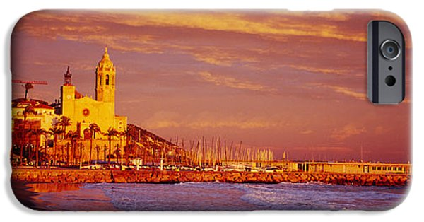 High Angle iPhone Cases - High Angle View Of A Beach, Sitges iPhone Case by Panoramic Images
