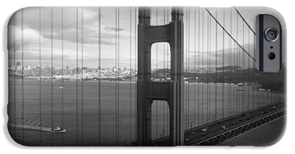 Land Vehicle iPhone Cases - High Angle View Of A Bridge iPhone Case by Panoramic Images
