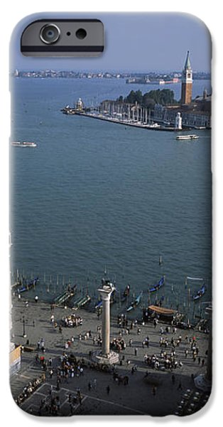 Piazza San Marco iPhone Cases - High Angle View Of A Church And A Bell iPhone Case by Panoramic Images