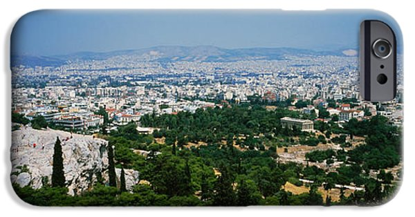 Acropolis iPhone Cases - High Angle View Of A City, Acropolis iPhone Case by Panoramic Images