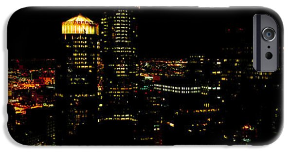 City. Boston iPhone Cases - High Angle View Of A City At Night iPhone Case by Panoramic Images