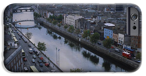 Mode Of Transport iPhone Cases - High Angle View Of A City, Dublin iPhone Case by Panoramic Images