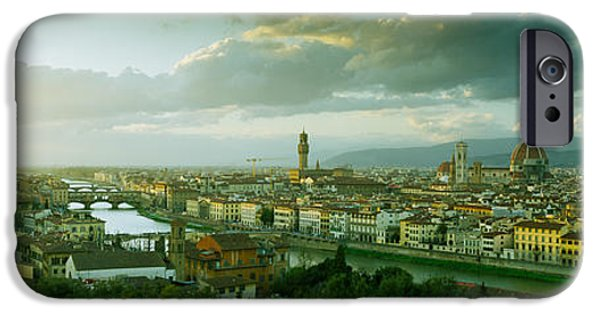 Michelangelo iPhone Cases - High Angle View Of A City From Piazzale iPhone Case by Panoramic Images