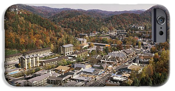 Gatlinburg iPhone Cases - High Angle View Of A City, Gatlinburg iPhone Case by Panoramic Images