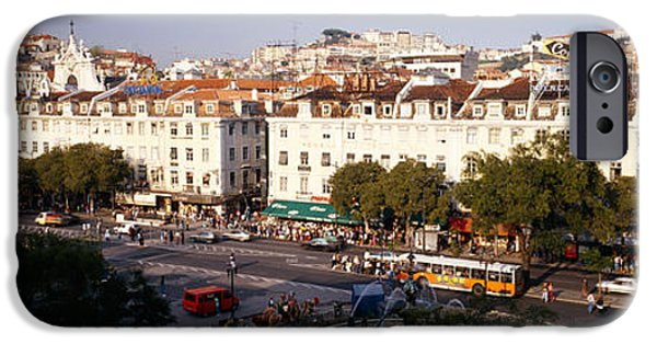 Mode Of Transport iPhone Cases - High Angle View Of A City, Lisbon iPhone Case by Panoramic Images