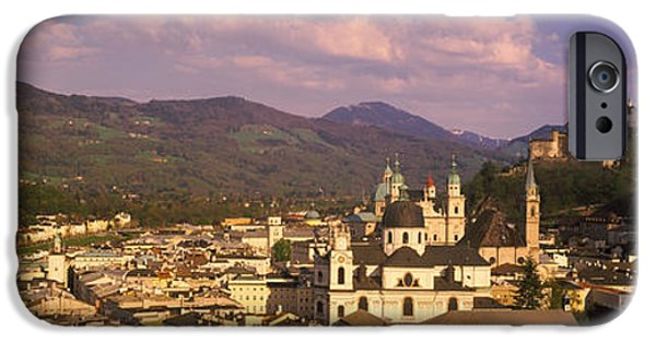 Salzburg iPhone Cases - High Angle View Of A City, Salzburg iPhone Case by Panoramic Images
