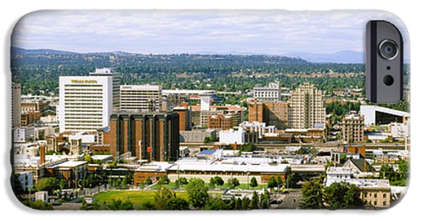 Spokane iPhone Cases - High Angle View Of A City, Spokane iPhone Case by Panoramic Images