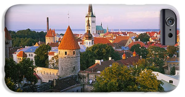 Estonia Photographs iPhone Cases - High Angle View Of A City, Tallinn iPhone Case by Panoramic Images