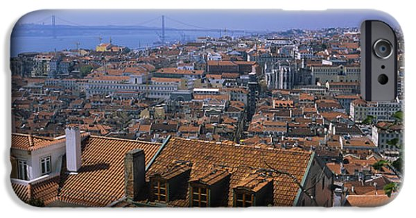 Tile Roofs iPhone Cases - High Angle View Of A City Viewed iPhone Case by Panoramic Images