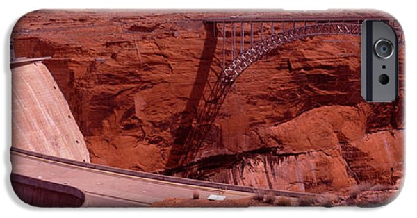 Lake Powell iPhone Cases - High Angle View Of A Dam, Glen Canyon iPhone Case by Panoramic Images