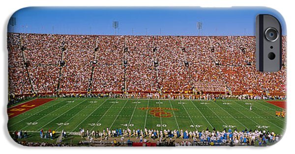 High Angle iPhone Cases - High Angle View Of A Football Stadium iPhone Case by Panoramic Images