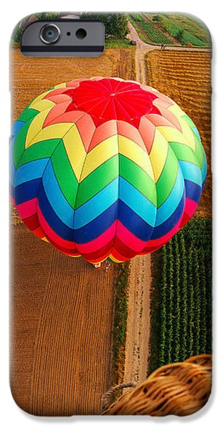 Hot Air Balloon iPhone Cases - High Angle View Of A Hot Air Balloon iPhone Case by Panoramic Images
