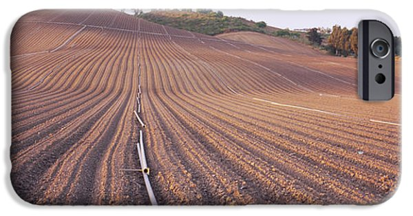 Agricultural iPhone Cases - High Angle View Of A Plowed Field iPhone Case by Panoramic Images