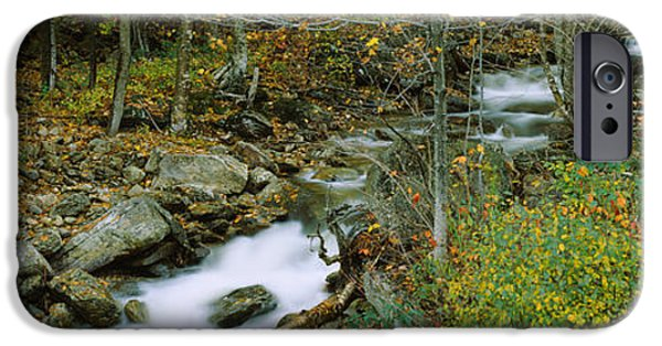 New Hampshire Fall Scenes iPhone Cases - High Angle View Of A Stream Passing iPhone Case by Panoramic Images