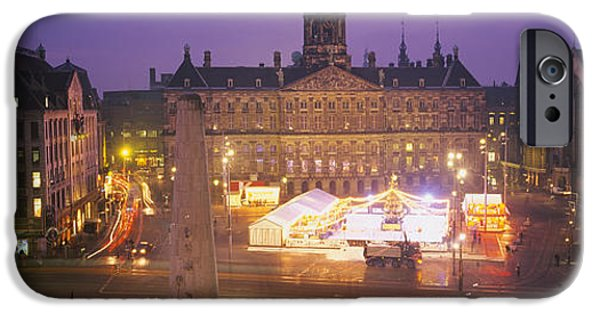Liberation iPhone Cases - High Angle View Of A Town Square Lit iPhone Case by Panoramic Images