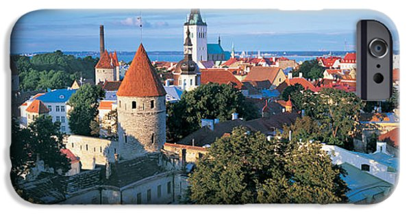 Estonia Photographs iPhone Cases - High Angle View Of A Town, Tallinn iPhone Case by Panoramic Images