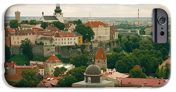 Estonia Photographs iPhone Cases - High Angle View Of A Townscape, Old iPhone Case by Panoramic Images