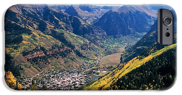 Autumn iPhone Cases - High Angle View Of A Valley, Telluride iPhone Case by Panoramic Images