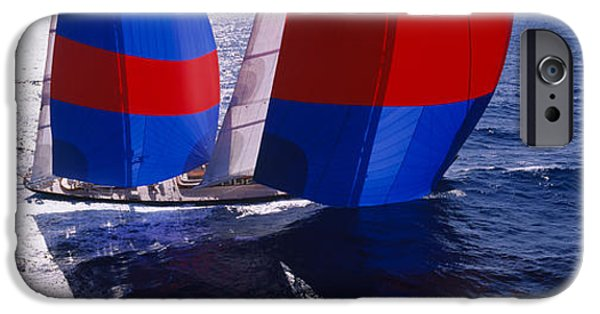 Sailing iPhone Cases - High Angle View Of A Yacht In The Sea iPhone Case by Panoramic Images