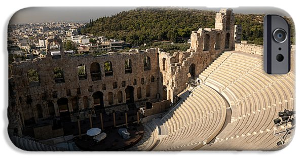 Acropolis iPhone Cases - High Angle View Of An Amphitheater iPhone Case by Panoramic Images