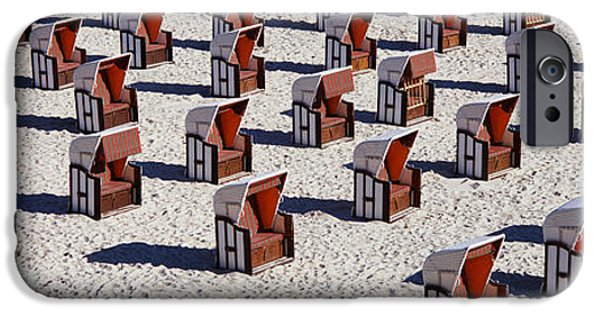 Absence iPhone Cases - High Angle View Of Beach Baskets On The iPhone Case by Panoramic Images