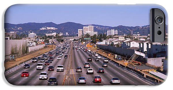 Road Travel iPhone Cases - High Angle View Of Cars On The Road iPhone Case by Panoramic Images
