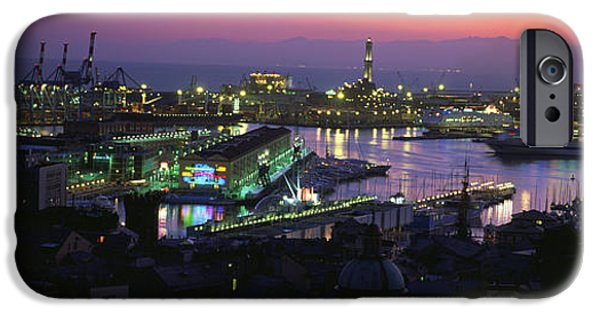 Genoa iPhone Cases - High Angle View Of City At A Port Lit iPhone Case by Panoramic Images