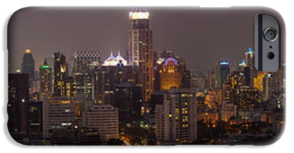 Bangkok iPhone Cases - High Angle View Of City At Dusk iPhone Case by Panoramic Images