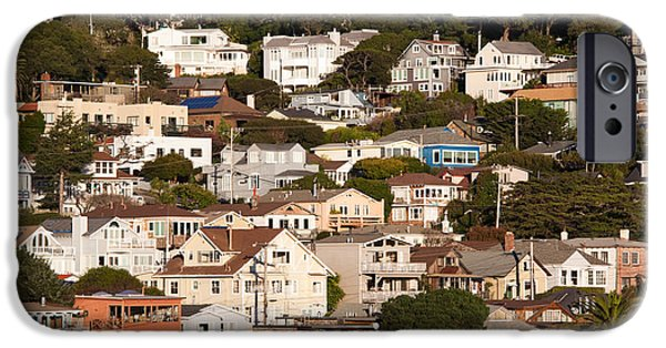 Sausalito iPhone Cases - High Angle View Of Houses In A Town iPhone Case by Panoramic Images
