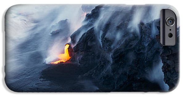 Coastal Places iPhone Cases - High Angle View Of Lava Flowing iPhone Case by Panoramic Images