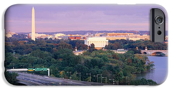Lincoln iPhone Cases - High Angle View Of Monuments, Potomac iPhone Case by Panoramic Images
