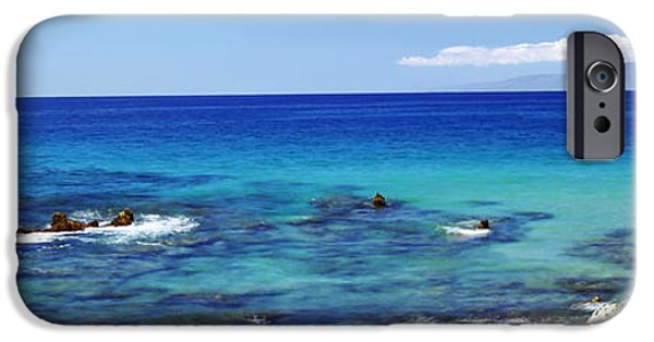 Hawaii Islands iPhone Cases - High Angle View Of Surf At The Coast iPhone Case by Panoramic Images