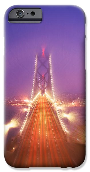 Oakland Bay Bridge iPhone Cases - High Angle View Of Suspension Bridge iPhone Case by Panoramic Images