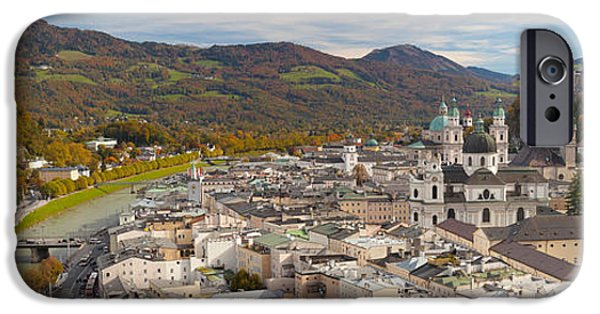 Salzburg iPhone Cases - High Angle View Of The City, Salzburg iPhone Case by Panoramic Images