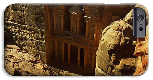 Jordan iPhone Cases - High Angle View Of The Treasury, Wadi iPhone Case by Panoramic Images