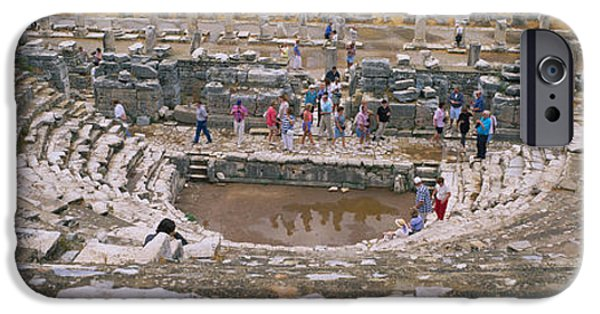 Ephesus iPhone Cases - High Angle View Of Tourists In An iPhone Case by Panoramic Images