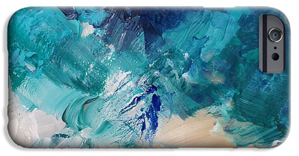Nature Abstract iPhone Cases - High As A Mountain- Contemporary Abstract Painting iPhone Case by Linda Woods