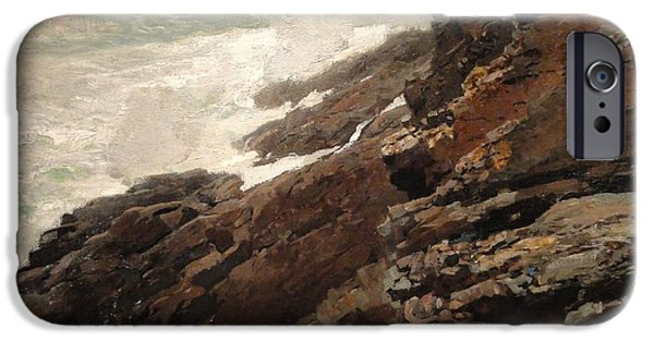 Maine Landscapes Paintings iPhone Cases - High Cliff coast of Maine 1894 iPhone Case by Winslow Homer