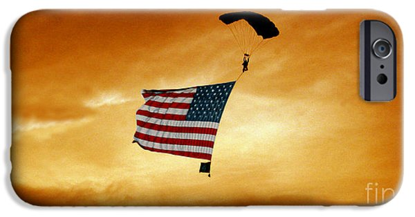 Old Glory iPhone Cases - High Flying Flag iPhone Case by Paul Anderson
