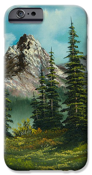 Sawtooth Mountain Paintings iPhone Cases - High Meadow iPhone Case by C Steele