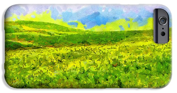 Green Day Paintings iPhone Cases - High mountain meadow painting iPhone Case by Magomed Magomedagaev