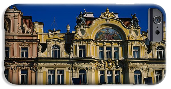 Town Square iPhone Cases - High Section View Of Buildings, Prague iPhone Case by Panoramic Images