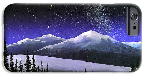Stargazing Paintings iPhone Cases - High Sierra Night iPhone Case by Douglas Castleman