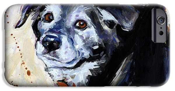 Black Dog iPhone Cases - High Tail iPhone Case by Molly Poole